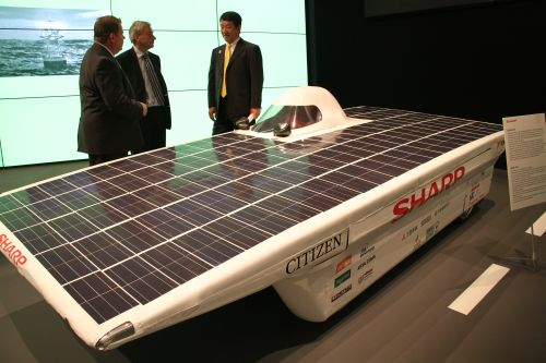 We also saw this solar-powered race car by Sharp. The car was used as a pace marathon car at a recent marathon held in Nairobi.