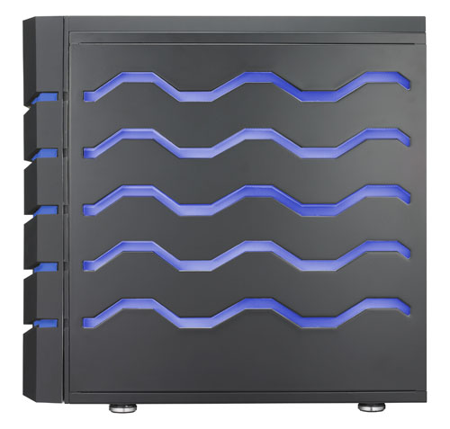 The wavy LED design extends to the side of the Colossus, which makes the side panels of this casing much heavier than usual. Users can switch between blue or red lighting with a button.