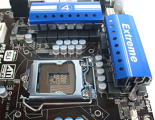 One of ASRock's more unique feature has to do with its CPU socket or what it calls, Combo Cooler Option. These are an extra set of holes drilled to fit LGA775 coolers, so one can reuse their older LGA775 cooler if upgrading.