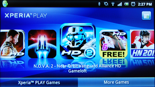 The preloaded Xperia Play launcher consolidates the Android games that have been optimized for the Xperia Play controls.