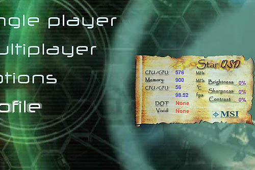 Here's the StarOSD interface within the game menu of F.E.A.R. You do have to rely on hot-keys like Ctrl-F1 to Ctrl-F12 to make your changes.
