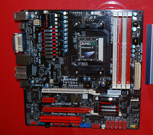 This is the mATX version of the Biostar A75 board, the TA75M+. It has similar features as the ATX version, like two PCIe 2.0 x16 slots, but some of the expansion slots had to go.