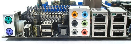 Rear I/O panel of the Biostar TF680i SLI Deluxe houses PS/2 ports, FireWire, six USB 2.0 ports, dual RJ45 Gigabit Ethernet ports, analog surround jacks and optical S/PDIF