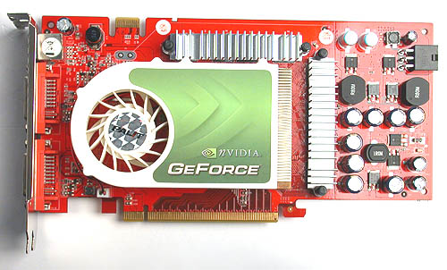 The color scheme of the plastic cooler on the Palit GeForce 7900GT Sonic may seem familiar to those who have seen its GeForce 7600GT Sonic but this angle doesn't do it justice. It has morphed into a larger and taller cooler that inches into dual-slot territory.
