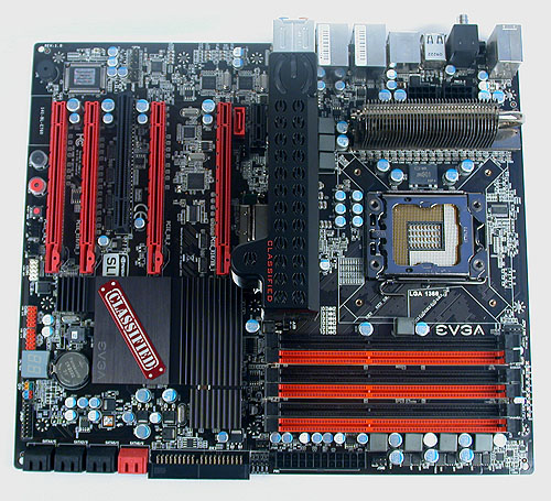The black and red theme on the EVGA X58 SLI Classified will no doubt find favor among enthusiasts.