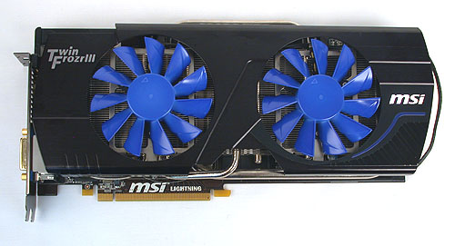 The dual-fan Twin Frozr III cooler on the Lightning Xtreme is mostly identical to the one on the Lightning, but the fins now turn from the default blue to white as it gets warmer. It's meant to be a quick, visual indicator of the GPU's workload.