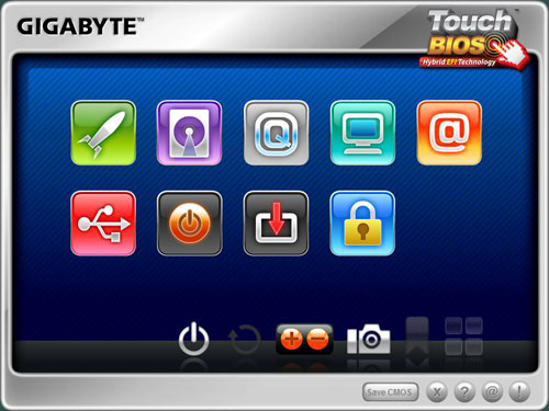Gigabyte's TouchBIOS has big icons that are suitable for even the fattest fingers.