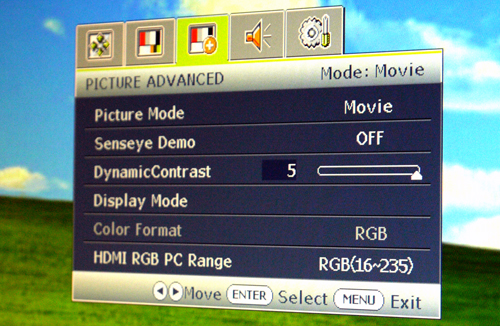 We only got to fiddle with the dynamic contrast levels in certain modes, like Movie for example. Of course, these are the settings shown before we set it back to sRGB mode for our tests.