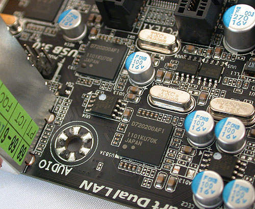 The two USB 3.0 controllers from Renesas (NEC) and the VIA USB hubs combine to enable up to 10 USB 3.0 ports (6 at the rear and 4 through headers).
