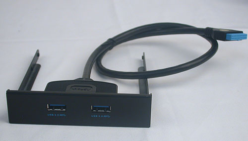 A front panel bracket is included to enable the other two USB 3.0 ports. Apparently, it's a world's first.