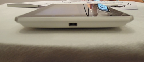 As with most HTC devices, the microUSB port sits quietly at the bottom of the phone right smack in the center. The port serves as both data port and display output for the tablet.