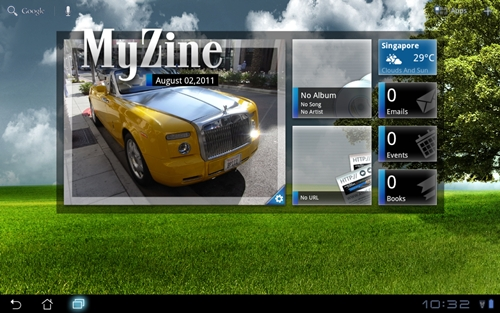 Shown here is the MyZine widget, which gives you one touch access to many functions such as weather information, emails and music player.