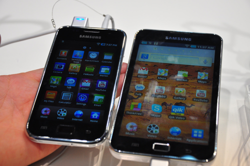 Samsung GALAXY S WiFi 4.0 (left) and Samsung GALAXY S WiFi 5.0 (right). Both are possible to be upgraded to 2.3 Gingerbread at commercial launch according to the official press release.