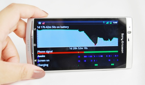 As mentioned, while the Android 2.3 OS hasn't featured any dramatic changes from the current Android 2.2 OS, there are some subtle differences that streamline the user experience.  For one, the Application settings now has a more comprehensive overview of how the battery is being used, with details of usage by each app or component.