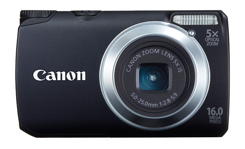 The PowerShot A3300 IS comes in five colors: black (shown here), red, blue, silver, and pink.