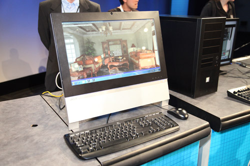 An Acer all-in-one desktop PC with a low power Sandy Bridge processor demonstrating complex 3D renders taking advantage of Intel's AVX instruction set.