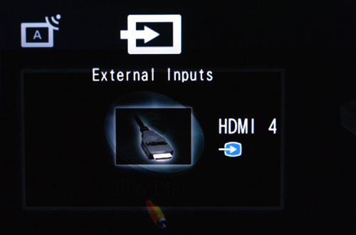 You don't have to toggle through every external AV input to find that active connection. The BRAVIA is intelligent enough to tell you which AV connection is used. To navigate the XMB interface, scroll left or right for Photo or Video options. Basic selections such as System Settings can be found at the extreme left.