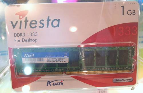 So you thought DDR2 is all the rage. DDR3 technology has been making its round at Computex this year and A-Data has a DDR3-1333 module on display. DDR3 will have the same packaging design and pin-out as DDR2 memory, but almost double the data rate capabilities and uses lower power at 1.5V operational voltage.