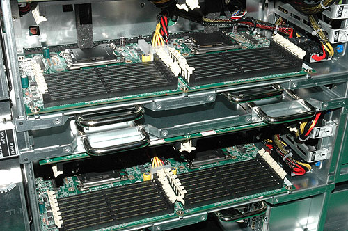 A closer look at the processor sockets and DIMM slots.