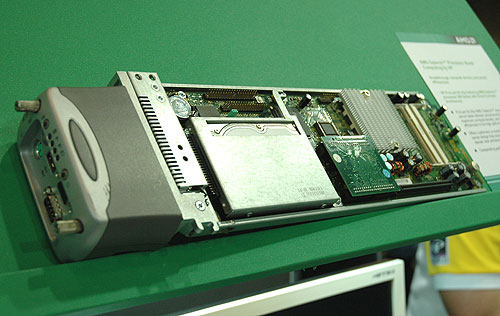 HP's ProLiant BL3p processor blade for high density rack installations.