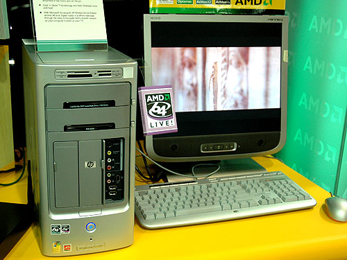 HP's media center PC based on AMD's Athlon 64 processor looks similar to its Intel counterpart.