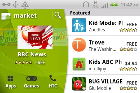 The Android Market interface sees a slight rearrangement of the Featured section to the side.