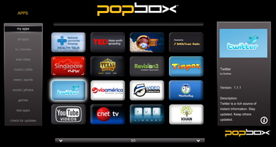 The PopBox will feature an online app store with a mix of local and global content. Users will be able to access RSS radio feeds plus a wide range of social networking applications as well as video streams on the 1080p-capable player. Its app count stands at 25 for now, with more to come in the near future.