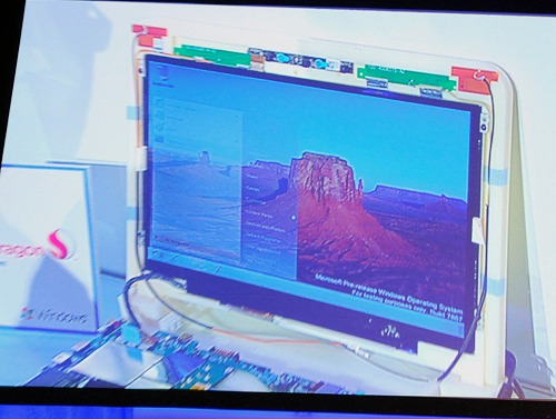 Qualcomm's SnapDragon based test system seen here with Windows 7 running well.