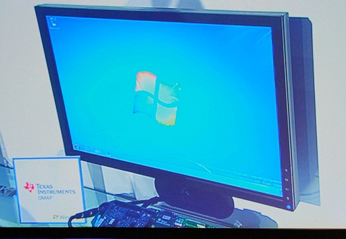 A Texas Instruments OMAP based engine also running Windows 7. Microsoft also showed a successful driver integration as an Epson USB printer was used to print a Word document on this system.