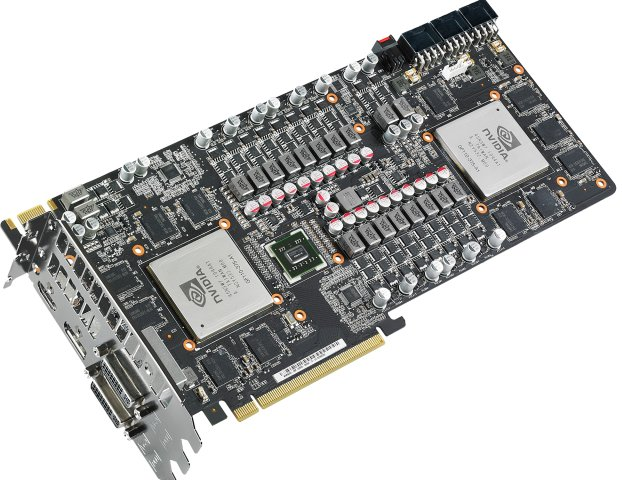 Here's a close-up of the Mars II graphics card - courtesy of ASUS. The bulk of the middle of the card consists of the chokes, MOSFET drivers and more for the 21-phase power circuitry design. Also notice the triple 8-pin PCIe power connectors.
