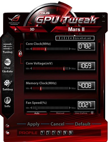 One last piece of the ASUS Mars II overclocking experience is the company's very own enthusiast overclocking and monitoring utility - ASUS GPU Tweak. With GPU-Z, driver/BIOS update tools along with an upcoming update to support recording of game play, this is one all-rounder utility you can't do without.