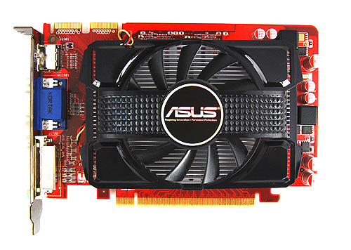 The ASUS EAH5670 comes with a blockish custom cooler that features a dust-proof fan design. Note that unlike our reference Radeon HD 5670, this card has two physical CrossFireX connectors.