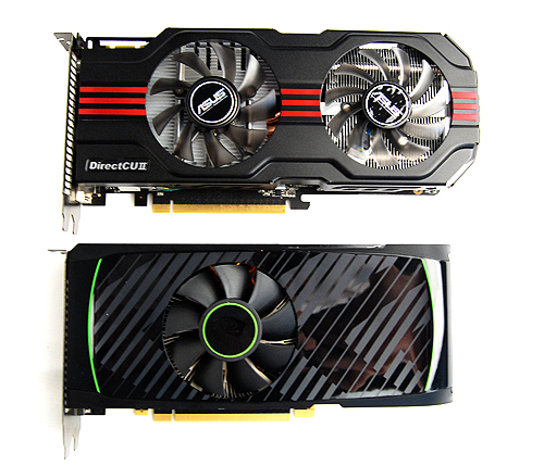 Thanks to the massive DirectCU II cooler, the ASUS card is longer than NVIDIA's reference design.