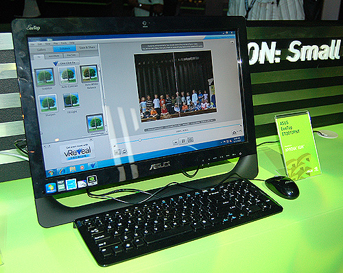 This ASUS EeeTop AIO is powered by the NVIDIA Ion chipset, which supports NVIDIA 3D Vision.