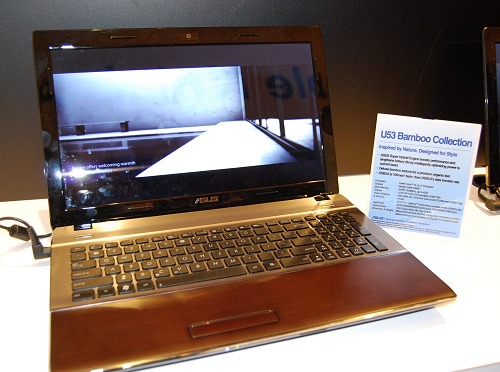 The ASUS Bamboo collection grows in size and variety. Seen here is a large U53 model with a 15.6-inch LED-backlit screen (1366 x 768 resolution) powered by the latest Intel Core processor options, a HM65 chipset and even a brand new discrete GeForce GT520M graphics engine supported by NVIDIA Optimus technology.