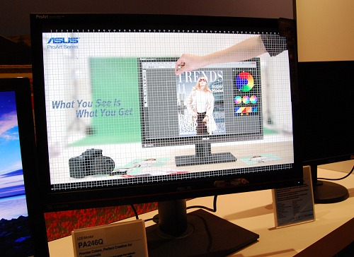 The ASUS PA246Q is a professional monitor with a 24-inch IPS screen and comes with a unique QuickFit function which overlays real size document, photo and grid formats onscreen for users to quickly assist on alignment and editing.