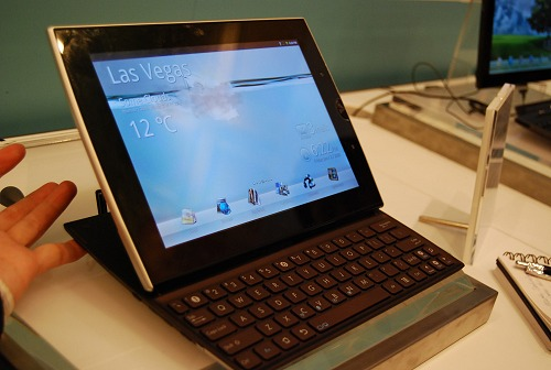 And here she is in the horizontal layout and the keyboard slid out. It's practically a lightweight netbook.