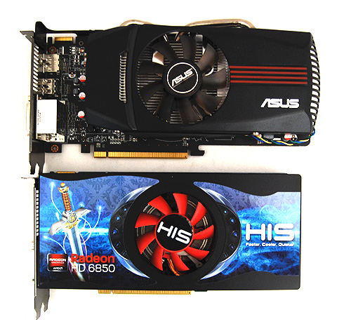 The ASUS EAH6850 DirectCU is slightly factory overclocked and comes with ASUS' recognizable DirectCU cooler.