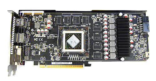 Since we've removed the cooler, here's a look at the board layout of the ASUS EAH5850 DirectCU TOP. In case you are wondering, the memory chips are from Samsung and are rated at 0.4ns.