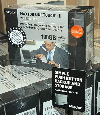 If you are looking for a small and portable backup device for your notebook, here is an affordable solution from Maxtor. It even supports encryption for your confidential documents.