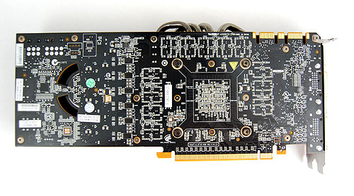 This is what the back of the cards look like. It has the same cut outs as we've seen on the dual-GPU GeForce GTX 295.