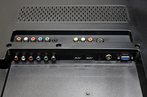 Component and composite inlets are stashed behind the panel with different directional placements. On the digital side, the HDMI1 port comes future-proofed which is HDMI 1.4 compliant.
