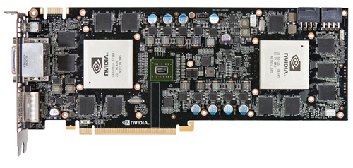 The two GF110 GPUs are surrounded by memory chips, whereas the NVIDIA NF200 SLI bridge chip in the middle ensures that the two chips are working in tandem.