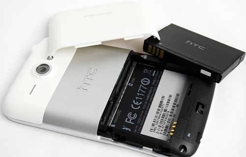 You have to slide out the bottom white cover to access the battery, microSD memory card and SIM card slot.