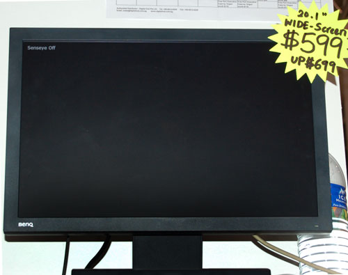 One of the more affordable 20.1-inch widescreen LCD monitors at the PC Show is this cool black BenQ at S$599 only.