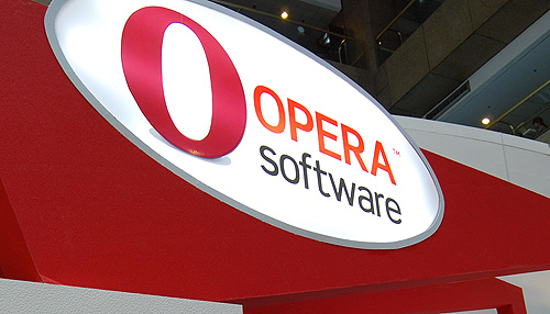 At Opera's booth was a showcase of products using their software.