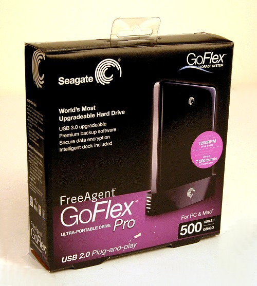 The packaging of the Seagate FreeAgent GoFlex series has improved heaps from the FreeAgent Go lineup we've seen previously. Note that the Pro versions of the GoFlex drives as seen here are based on a 7200rpm drive and it's prominently noted on the box too.