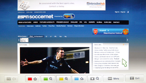 Surfing the web on a 42-inch display is quite an experience. Sadly, LG still has some refinements to make to its web browser's support for Flash-based content. Soccernet's top banner managed to load, but the advertising banner in between Quick Links and Live Scores failed to do so. If we may add, it is so much easier, if not faster, to navigate web content with the Magic remote at hand.