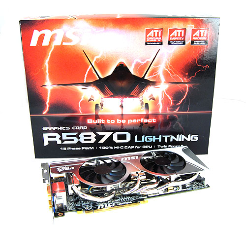 "The MSI R5870 Lightning comes in the familiar ""Lightning-style"" packaging, which features a stealth fighter on the cover."