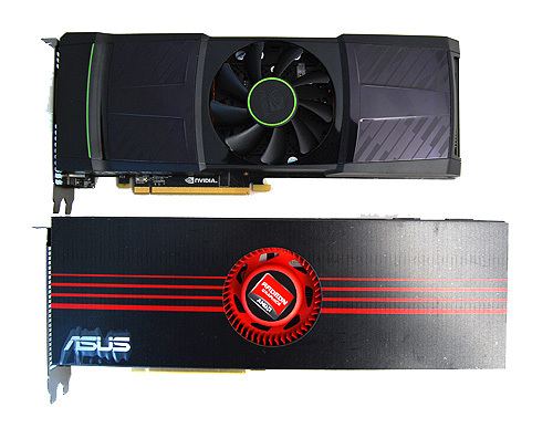 The new GeForce GTX 590 is markedly shorter than the Radeon HD 6990, which is good news for those with cramped casings.